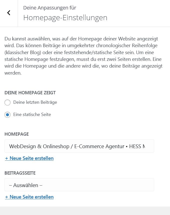 WordPress Startseite festlegen über Customizer